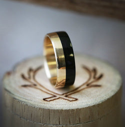 """TANNER"" IN EBONY AND 14K GOLD (available in 14K white, rose, or yellow gold) - Staghead Designs - Antler Rings By Staghead Designs"