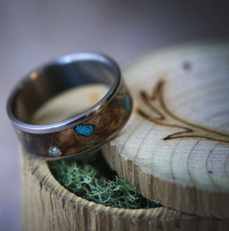 SINGLE CHANNEL RING WITH BUCKEYE BURL WOOD, OPAL AND TURQUOISE INLAYS (available in titanium, silver, black zirconium, damascus steel & 14K white, rose, or yellow gold) - Staghead Designs - Antler Rings By Staghead Designs