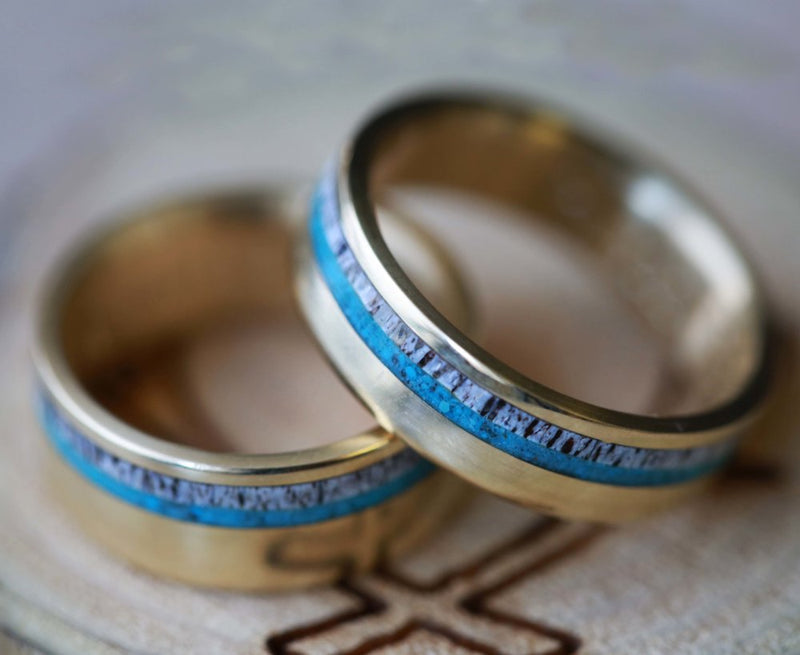 MATCHING 14K GOLD BANDS WITH TURQUOISE AND ANTLER INLAYS (available in 14K white, rose or yellow gold) -  Custom Rings Handcrafted By Staghead Designs