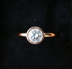 14K GOLD SOLITAIRE ENGAGEMENT RING WITH 1ct MOISSANITE STONE (available in 14K rose, white, or yellow gold) -  Custom Rings Handcrafted By Staghead Designs
