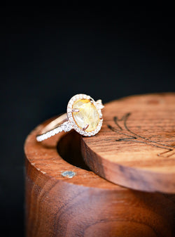 """KB"" ENGAGEMENT RING WITH RUTILATED QUARTZ AND DIAMOND ENGAGEMENT RING - Staghead Designs"