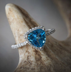 14K GOLD ENGAGEMENT RING WITH LONDON BLUE TOPAZ & TRILLION CUT DIAMOND HALO (available in 14K yellow, rose, and white gold) - Staghead Designs - Antler Rings By Staghead Designs