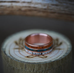 """RIO"" - THREE CHANNEL 14K GOLD RING WITH IRONWOOD, PATINA COPPER, AND ANTLER INLAYS (available in 14K white, rose, or yellow gold) - Staghead Designs - Antler Rings By Staghead Designs"