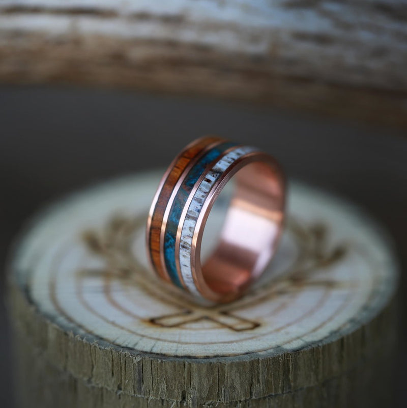"""RIO"" - ELK ANTLER, PATINA COPPER AND WOOD RING (available in titanium, silver, black zirconium, damascus steel & 14K white, rose, or yellow gold) - Staghead Designs - Antler Rings By Staghead Designs"