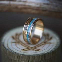 """BANNER"" IN TWO CHANNELS WITH ZEBRA WOOD, TURQUOISE, AND ANTLER (available in 14K white, rose, or yellow gold) - Staghead Designs - Antler Rings By Staghead Designs"