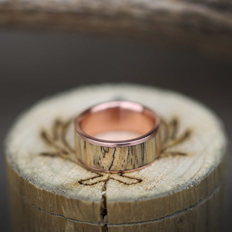 """RAINIER"" IN SPALTED MAPLE & FIRE-TREATED BLACK ZIRCONIUM (available in silver, black zirconium, damascus steel & 14K white, yellow, or rose gold) - Staghead Designs - Antler Rings By Staghead Designs"