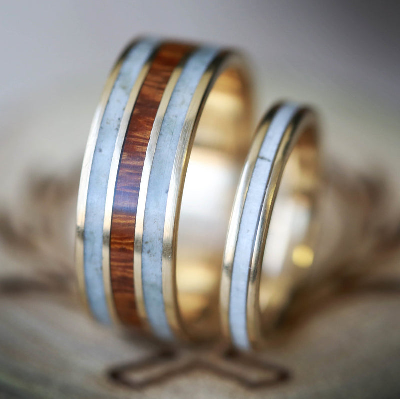 """RIO"" - MATCHING SET OF 14K GOLD & ANTLER WEDDING BANDS (available in 14K white, rose or yellow gold) -  Custom Rings Handcrafted By Staghead Designs"