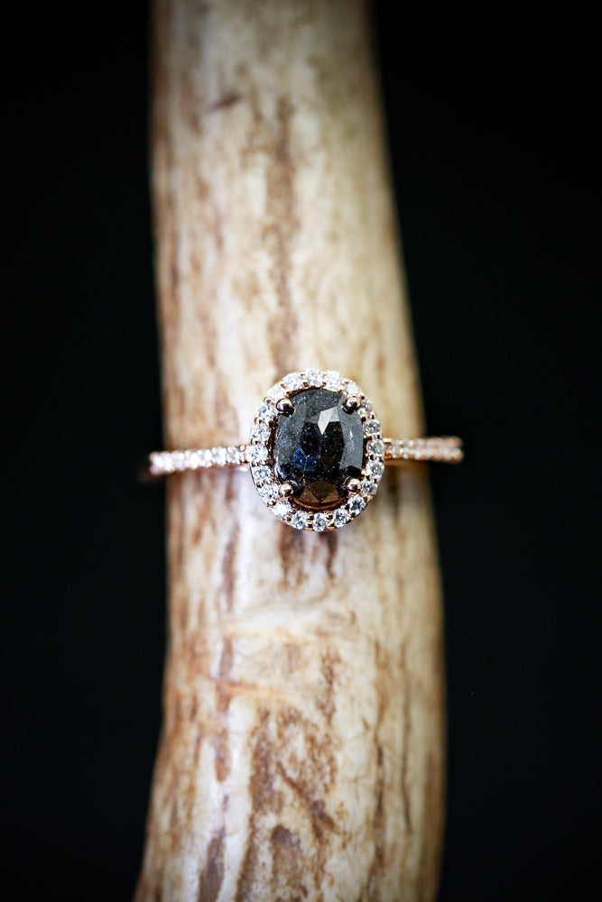 OVAL SALT AND PEPPER DIAMOND ON 14K GOLD BAND WITH DIAMOND ACCENTS (available in 14K white & rose gold) - Staghead Designs - Antler Rings By Staghead Designs