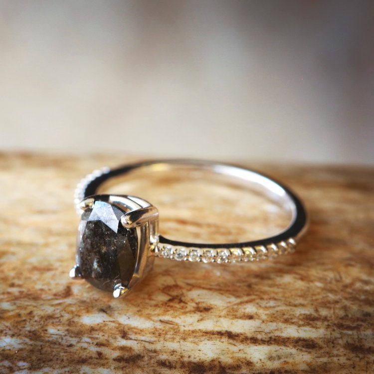 14K GOLD ENGAGEMENT RING WITH SALT AND PEPPER DIAMOND (available in 14K white, yellow & rose gold) -  Custom Rings Handcrafted By Staghead Designs