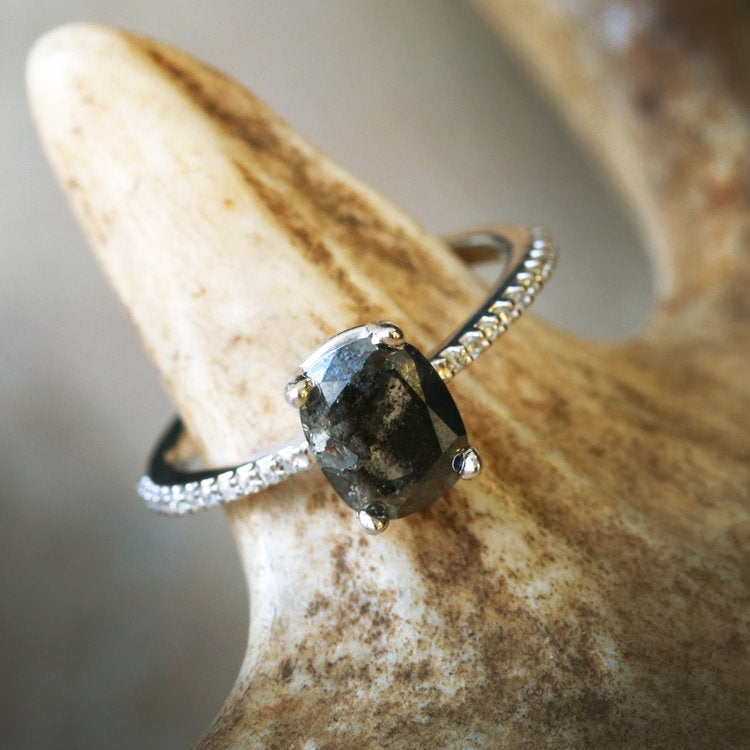 14K GOLD ENGAGEMENT RING WITH SALT AND PEPPER DIAMOND (available in 14K white, yellow & rose gold) - Staghead Designs - Antler Rings By Staghead Designs