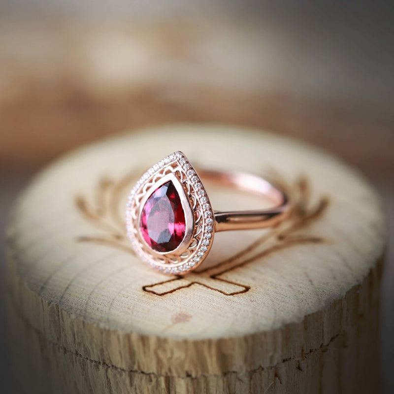 14K GOLD ENGAGEMENT RING WITH PEAR SHAPED GARNET AND DIAMOND HALO (available in 14K white, yellow, or rose gold) - Staghead Designs - Antler Rings By Staghead Designs