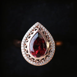 14K GOLD ENGAGEMENT RING WITH PEAR SHAPED GARNET AND DIAMOND HALO (available in 14K white, yellow, or rose gold) -  Custom Rings Handcrafted By Staghead Designs