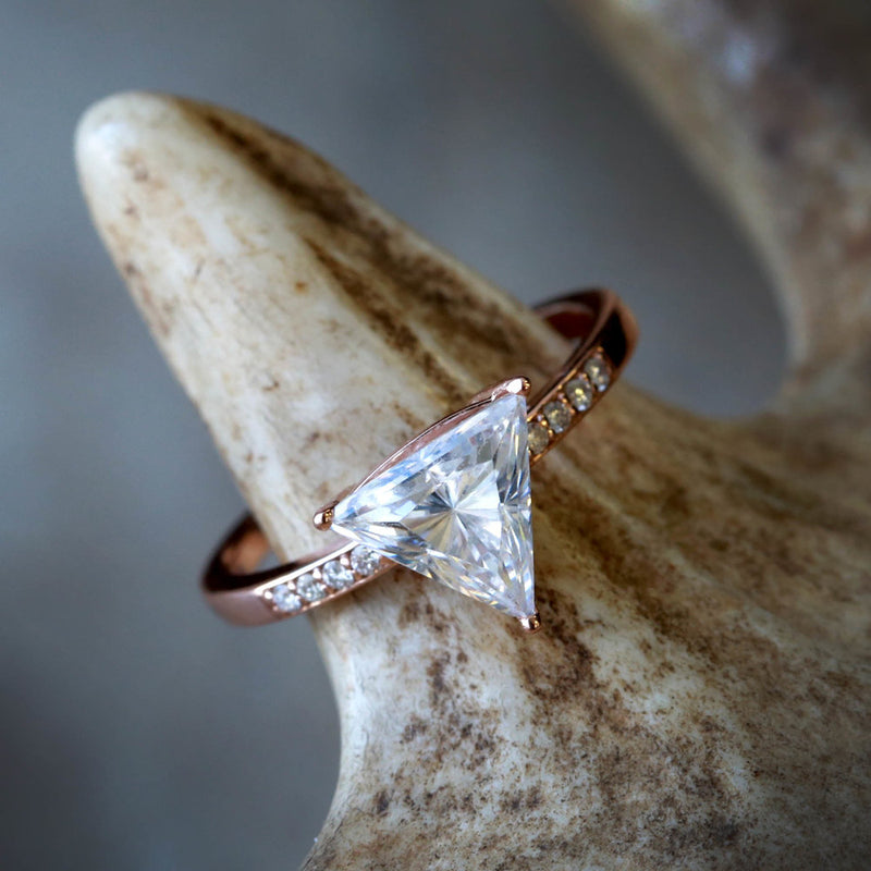 TRILLION CUT MOISSANITE STONE WITH DIAMONDS ACCENTS (available in 14K rose, white & yellow gold) - Staghead Designs - Antler Rings By Staghead Designs