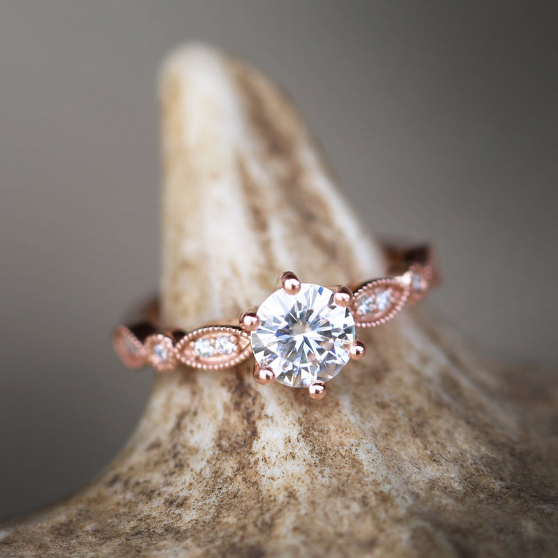 1ct MOISSANITE RING WITH DIAMOND ACCENTS ON 14K GOLD BAND (available in 14K rose, yellow, or white gold) - Staghead Designs - Antler Rings By Staghead Designs