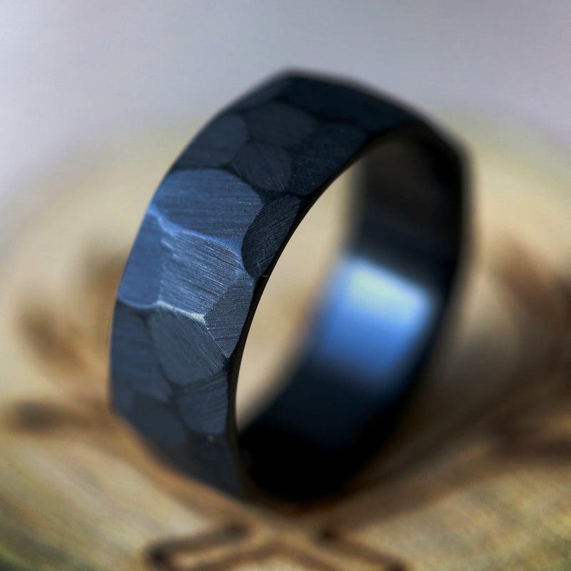 FACETED TITANIUM RING WITH TEXTURED FINISH (available in titanium, black zirconium, silver, damascus steel & 14K white, rose, or yellow gold) - Staghead Designs - Antler Rings By Staghead Designs
