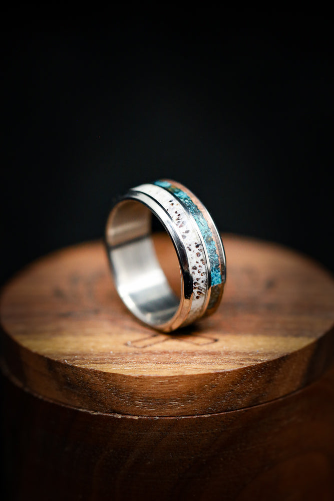 PATINA COPPER AND ANTLER WEDDING BAND (fully customizable)