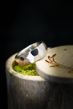 Geometric Wedding Ring - Faceted White Gold Wedding Band - Staghead Designs