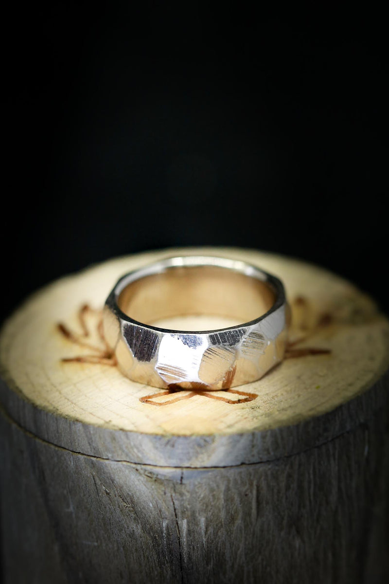 14K FACETED GOLD BAND IN RAW FINISH (fully customizable)