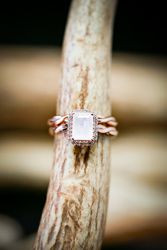MOONSTONE ENGAGEMENT RING WITH HALO & A WOVEN STACKER (available in 14K rose, white, or yellow gold) - Staghead Designs - Antler Rings By Staghead Designs