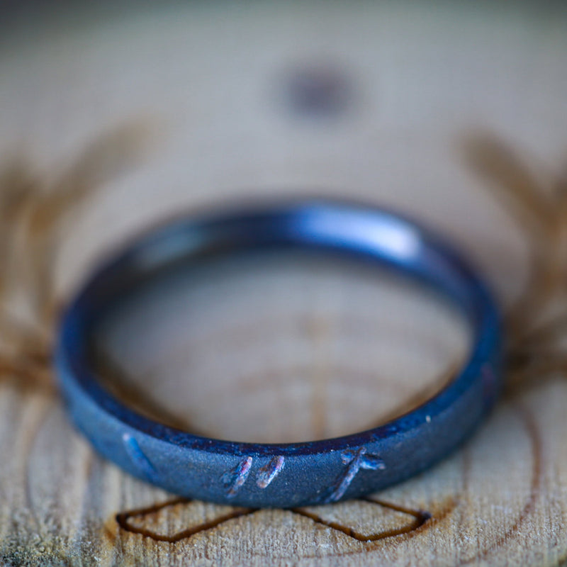 WOMEN'S FIRE-TREATED TITANIUM STACKING BAND WITH DISTRESSED FINISH -  Custom Rings Handcrafted By Staghead Designs