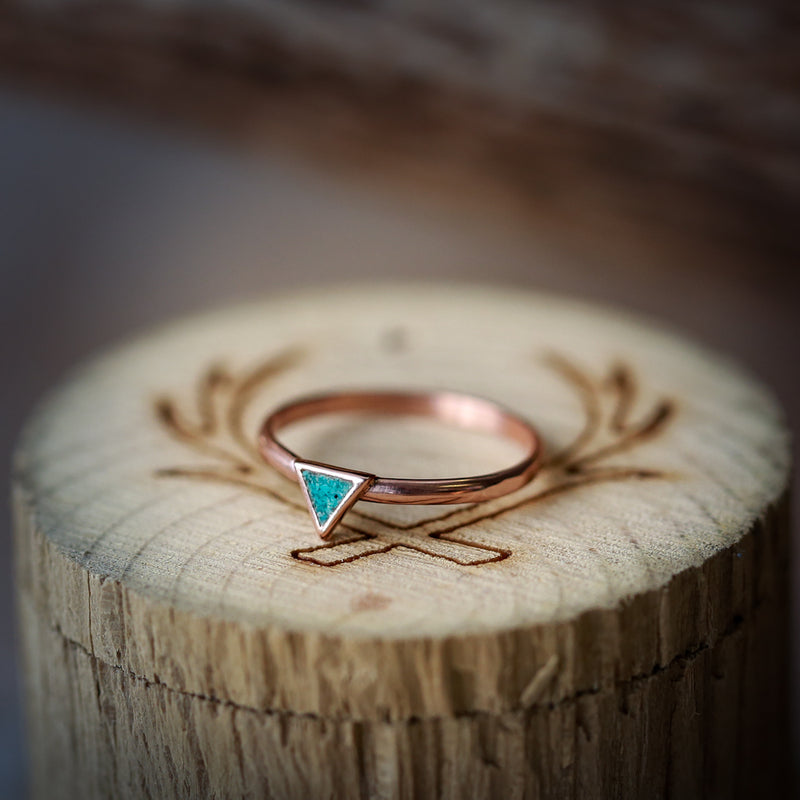 """MERA"" 14K GOLD TRIANGLE STACKING BAND WITH TURQUOISE INLAYS (available in 14K rose, white or yellow gold) -  Custom Rings Handcrafted By Staghead Designs"