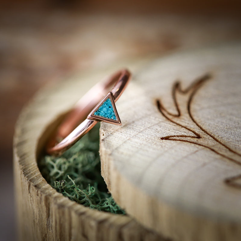 """MERA"" 14K GOLD TRIANGLE STACKING BAND WITH TURQUOISE INLAYS (available in 14K rose, white or yellow gold) - Staghead Designs - Antler Rings By Staghead Designs"