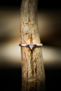 """MERA"" 14K GOLD TRIANGLE STACKING BAND WITH CRUSHED ANTLER (available in 14K rose, white or yellow gold) - Staghead Designs - Antler Rings By Staghead Designs"