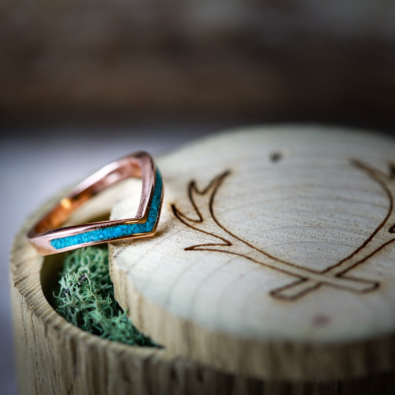 """KIDA"" 14K GOLD V-SHAPE STACKING WEDDING BAND WITH ANTLER INLAY (available in rose, white and yellow gold with various inlays) - Staghead Designs - Antler Rings By Staghead Designs"