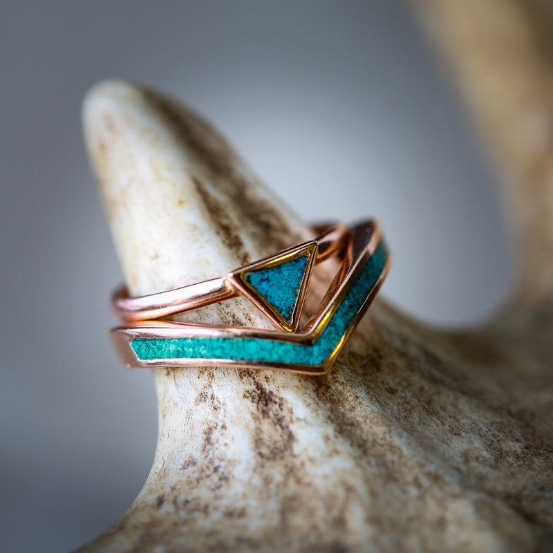 """ATLANTIS"" 14K GOLD TRIANGLE STACKER & V-SHAPED TRACER SET (available in rose, white and yellow gold with various inlays) - Staghead Designs - Antler Rings By Staghead Designs"