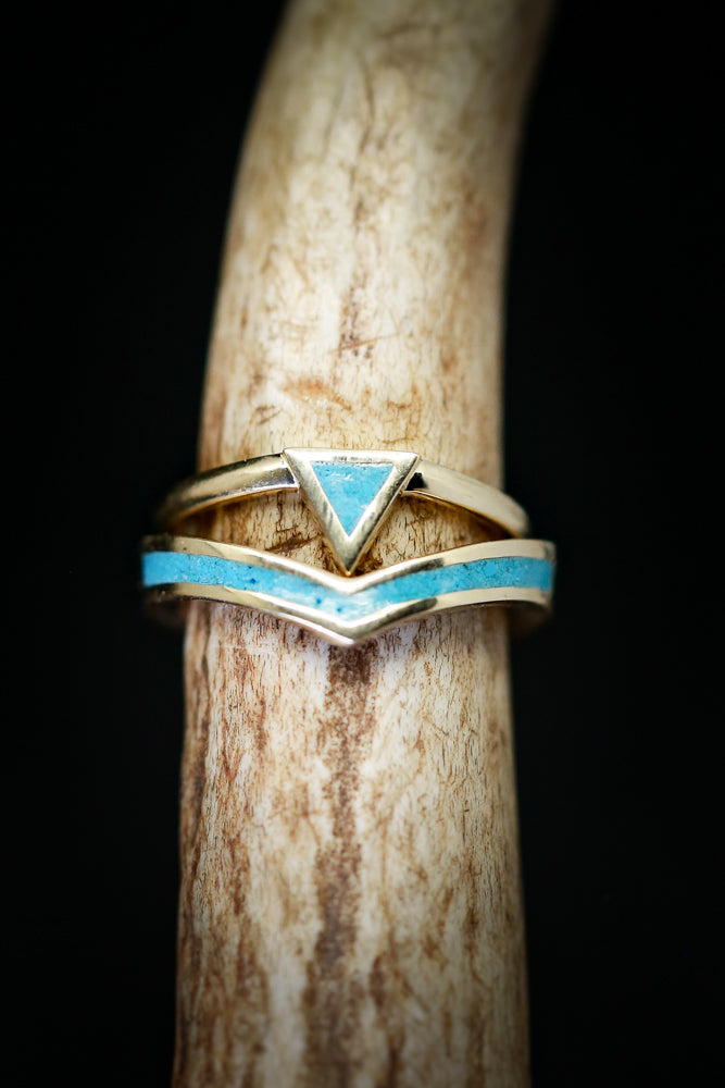 """ATLANTIS"" 14K GOLD TRIANGLE STACKER & V-SHAPED TRACER SET (available in 14K rose, white and yellow gold with various inlays)"