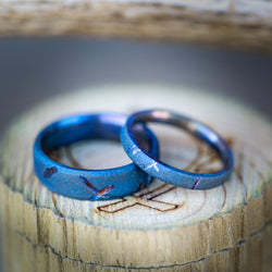 MATCHING FIRE-TREATED TITANIUM RINGS WITH DISTRESSED FINISH - Staghead Designs - Antler Rings By Staghead Designs