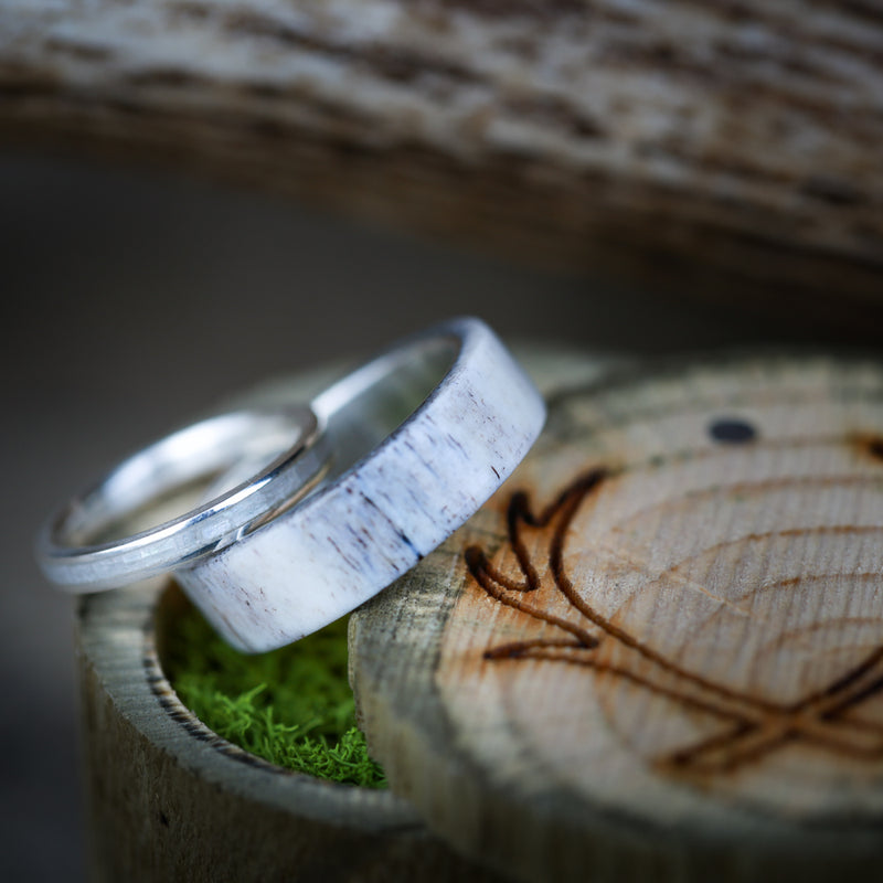 MEN'S ELK ANTLER OVERLAY WITH WOMAN'S MOTHER OF PEARL INLAY WEDDING BANDS (available in 14K white, rose, or yellow gold) - Staghead Designs - Antler Rings By Staghead Designs