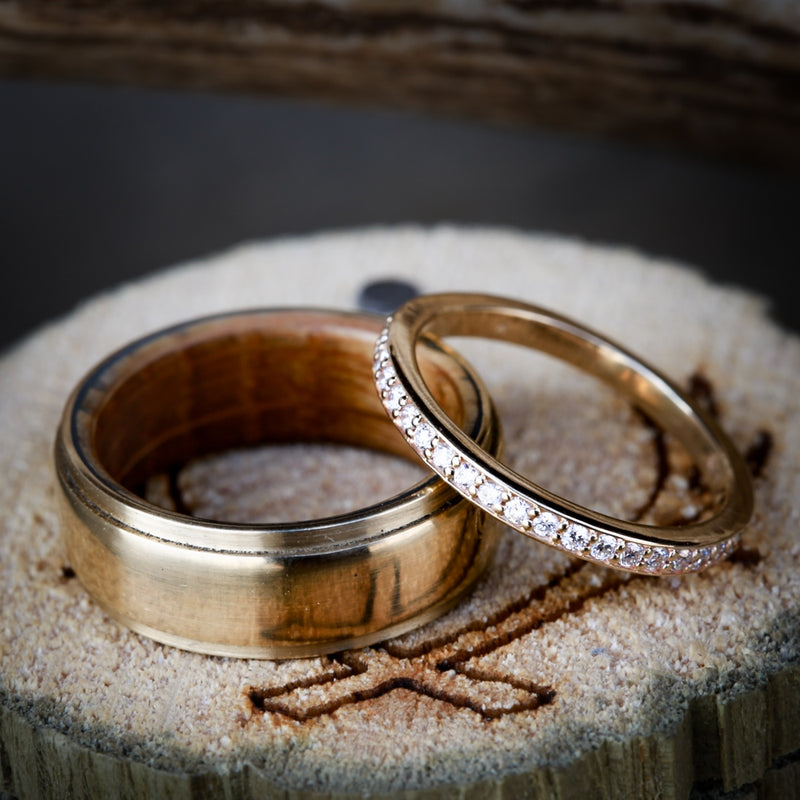 14K GOLD WHISKEY BARREL LINED AND WOMAN'S DIAMOND STACKER WEDDING BAND SET (available in 14K white, rose or yellow gold) - Staghead Designs - Antler Rings By Staghead Designs