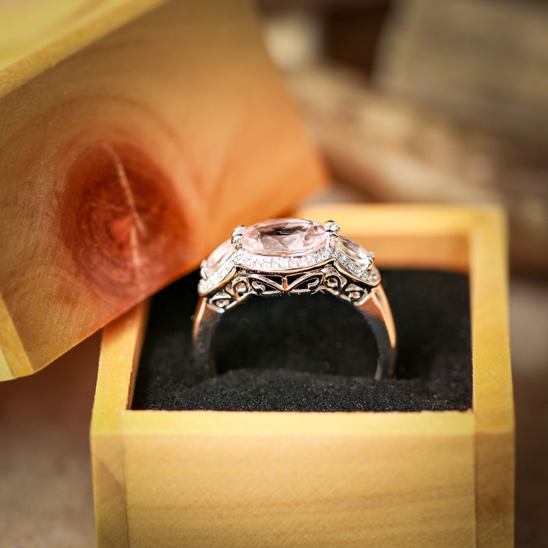 OVAL MORGANITE WITH HALO AND SIDE STONES ON 14K GOLD ENGAGEMENT RING (available in 14K white gold) - Staghead Designs - Antler Rings By Staghead Designs
