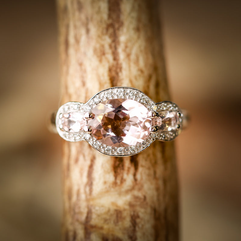 OVAL MORGANITE WITH HALO AND SIDE STONES ON 14K GOLD ENGAGEMENT RING (available in 14K white gold) -  Custom Rings Handcrafted By Staghead Designs