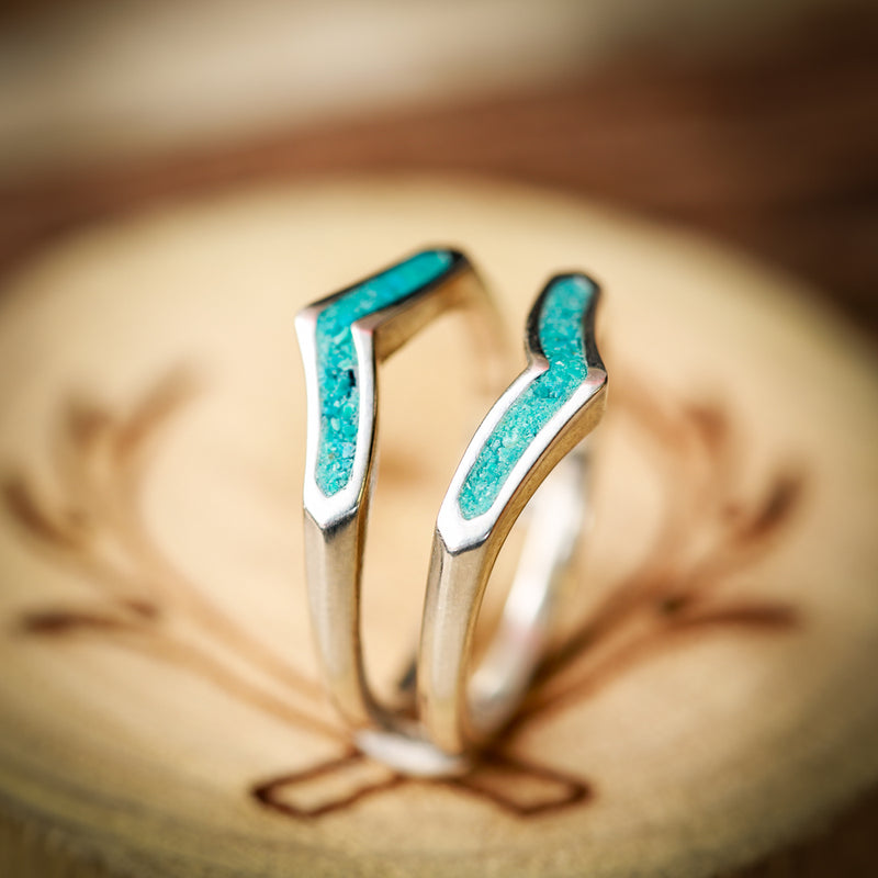 TURQUOISE RING GUARD on 14K GOLD (available in 14K rose, yellow, or white gold) - Staghead Designs - Antler Rings By Staghead Designs