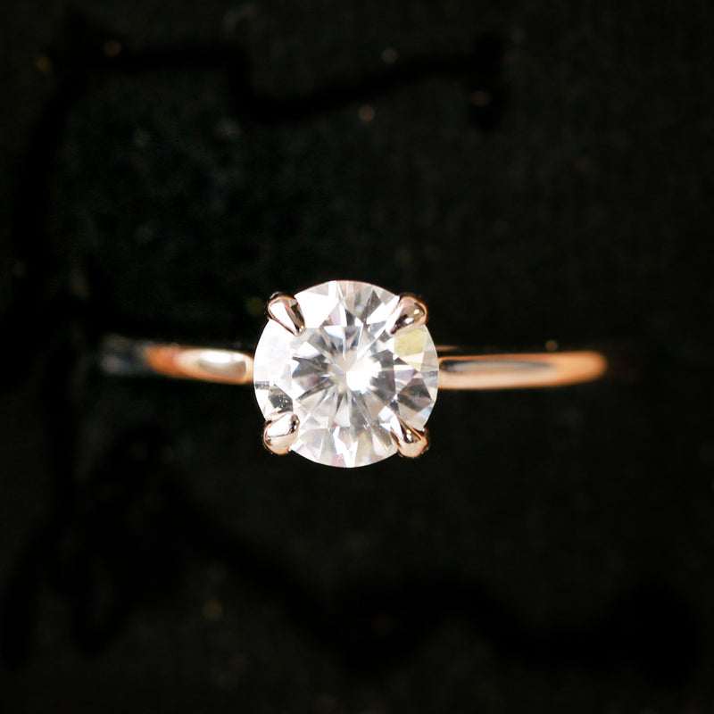 14K GOLD SOLITAIRE ENGAGEMENT RING WITH 1ct MOISSANITE STONE (available in 14K rose, white or yellow gold) -  Custom Rings Handcrafted By Staghead Designs