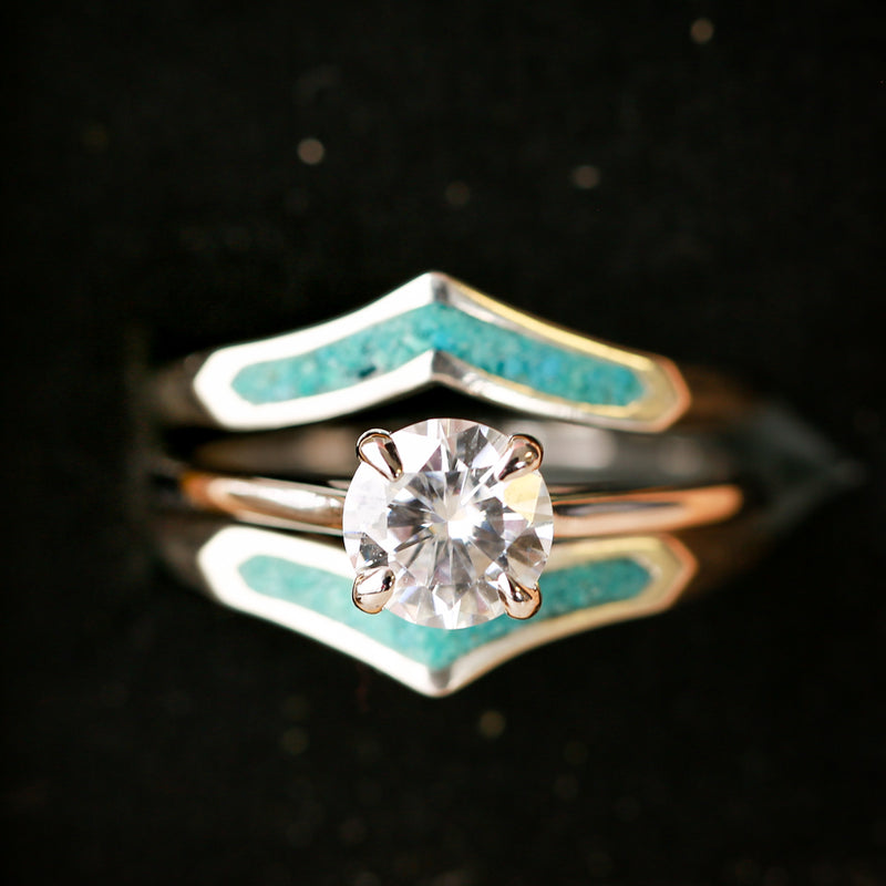 14K GOLD RING WITH 1ct SOLITAIRE MOISSANITE STONE & TURQUOISE RING GUARD (available in 14K rose, yellow, or white gold) - Staghead Designs - Antler Rings By Staghead Designs
