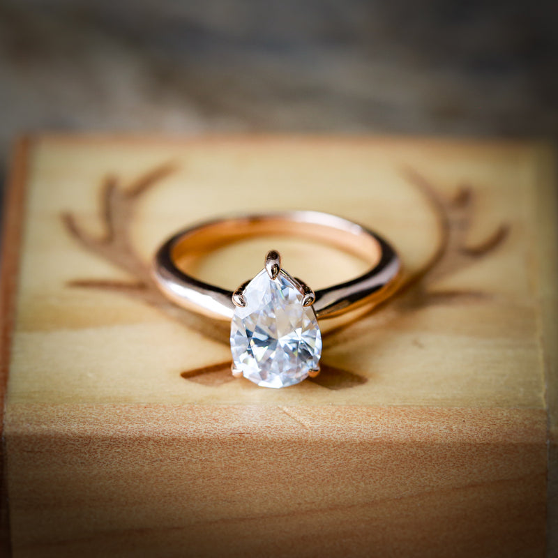 14K GOLD 5 PRONG ENGAGEMENT RING WITH A 2ct PEAR SHAPED MOISSANITE STONE (available in 14K rose, white or yellow gold) -  Custom Rings Handcrafted By Staghead Designs
