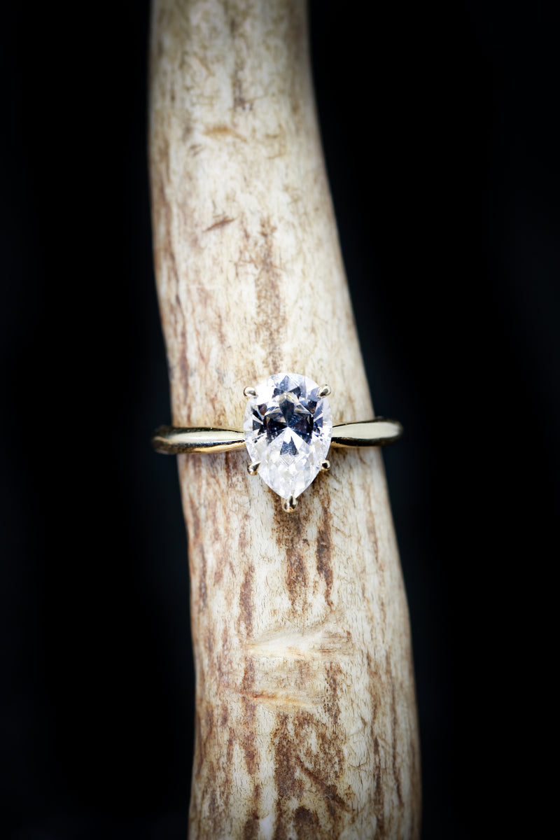 14K GOLD 5 PRONG ENGAGEMENT RING WITH A 2ct PEAR SHAPED MOISSANITE STONE (available in 14K rose, white or yellow gold) - Staghead Designs - Antler Rings By Staghead Designs