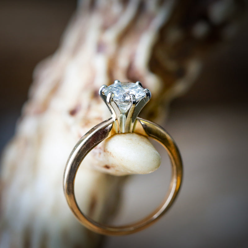 SIX PRONG SOLITAIRE ENGAGEMENT RING IN 14K GOLD WITH A 1ct MOISSANITE CENTER STONE & 2 GOLD STACKERS (available in 14K rose, white or yellow gold) - Staghead Designs - Antler Rings By Staghead Designs
