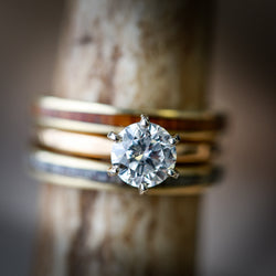 SIX PRONG 14K GOLD 1ct MOISSANITE ENGAGEMENT RING WITH TWO GOLD STACKERS (available in 14K rose, white or yellow gold) -  Custom Rings Handcrafted By Staghead Designs