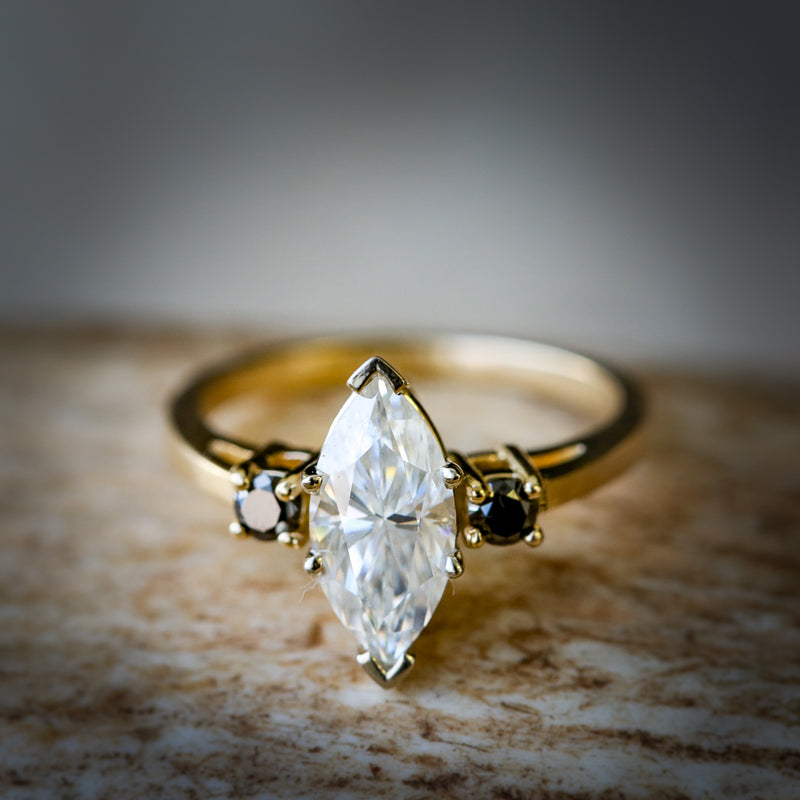 MARQUISE SHAPED 1ct MOISSANITE WITH OFFSET BLACK DIAMONDS (available in 14K yellow, rose, and white gold) - Staghead Designs - Antler Rings By Staghead Designs