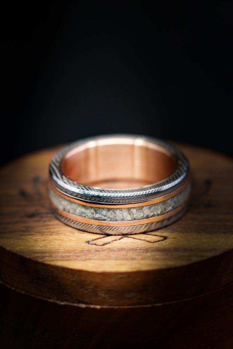 GOLD LINED DAMASCUS RING WITH GOLD & ELK TOOTH INLAYS (available in 14K white, rose, or yellow gold)