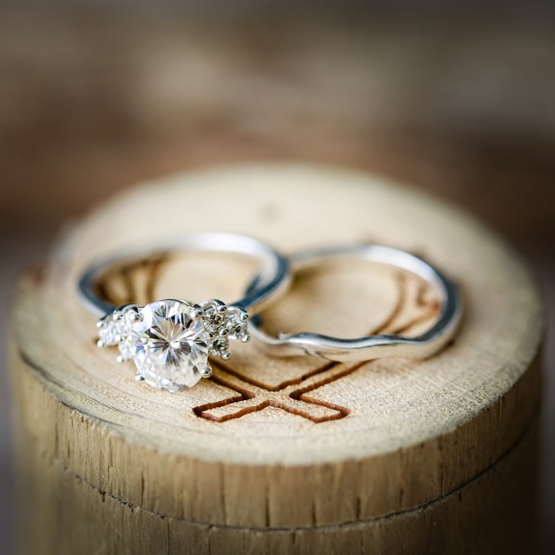 2ct OVAL MOISSANITE WITH THREE OFFSET DIAMONDS & TRACER (available in 14K rose, white or yellow gold) - Staghead Designs - Antler Rings By Staghead Designs