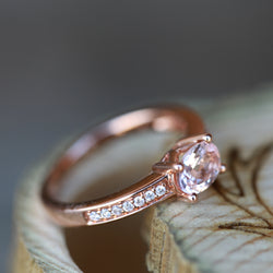OVAL MORGANITE & DIAMOND ENGAGEMENT RING (available only in 14K rose gold) - Staghead Designs - Antler Rings By Staghead Designs