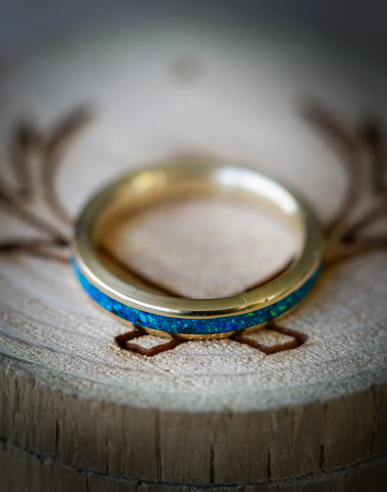 14K GOLD & BLUE OPAL WEDDING BAND (available in 14K yellow, white, or rose gold) - Staghead Designs - Antler Rings By Staghead Designs