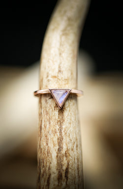 MOONSTONE TRIANGLE RING IN 14K GOLD (available in 14K white, yellow & rose gold) - Staghead Designs - Antler Rings By Staghead Designs