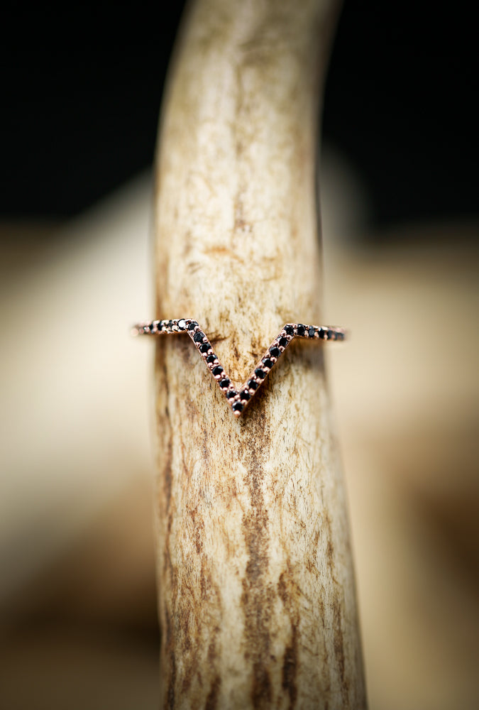 14K GOLD V-SHAPED TRACER WITH BLACK DIAMONDS (available in 14K white, yellow & rose gold) - Staghead Designs - Antler Rings By Staghead Designs