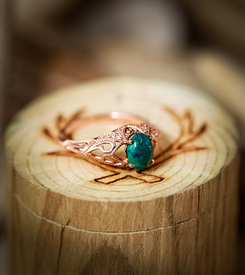 VINTAGE STYLE 14K GOLD ENGAGEMENT WITH A TURQUOISE STONE AND DIAMOND ACCENTS (available in 14K white, yellow & rose gold) - Staghead Designs - Antler Rings By Staghead Designs